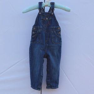Oshkosh blue denim overalls EUC 24m